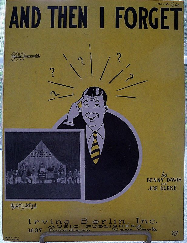 "Striking Yellow and Black Sheet Music ""And Then I Forget"""