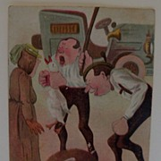 Comical Postcard of Men Beating Up a Roadster Driver