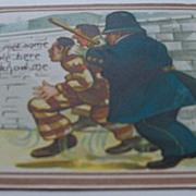 Comic Postcard of Policeman Catching Criminal