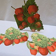 Three Victorian Scraps of Luscious Strawberries