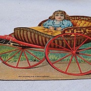 Advertising Card Figural Sleigh and Little Girl
