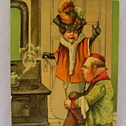 Postcard Henpecked Husband  Getting a Tongue Lashing