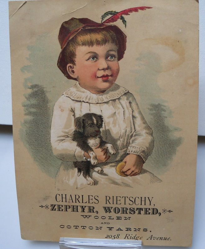 "Large Advertising Trade Card ""Yarns"""