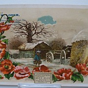 Advertising Trade Card Winter Scene with Sparkles