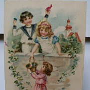 Postcard Birthday Greeting Trio of Children