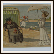 Edwardian Comical Beach Scene Postcard