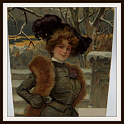 Glamour Edward Woman Wearing Furs and Chatelaine