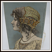 Tuck's Postcard Medieval Lady with Gold Trim