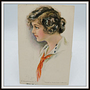 Artist Signed LeMunyan Postcard of Beautiful Woman