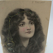 Artist Signed F. Toussaint Beautiful Woman with Head Jewelry