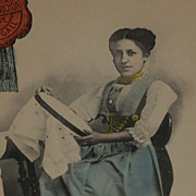Advertising Postcard Woman Working on Embroidery