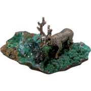 Silver Miniature Moose on a Rock
