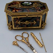 SOLD Small Tortoise Sewing Box with Tools