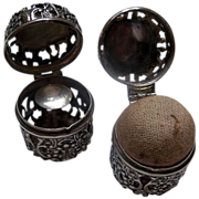 Ornate Pair of Sterling Chatelaine Pin Holder and Thimble Holder