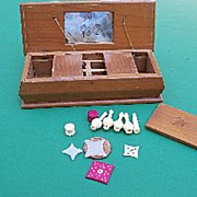 Miniature Wood Sewing Box with Tools