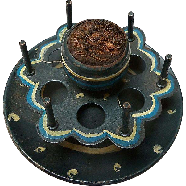 Blue Metal Thread and Pin Cushion Holder