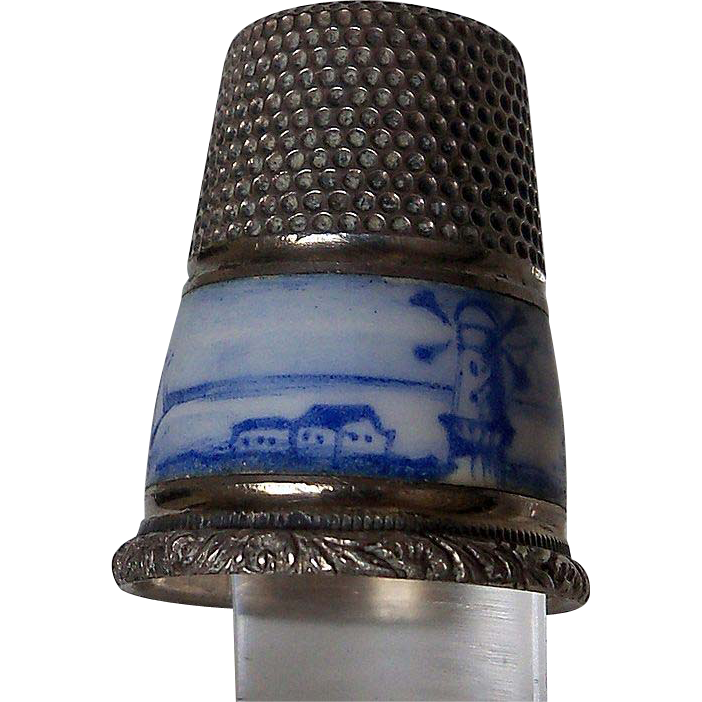Gabler Thimble with Blue Enamel Windmill Scene