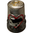Silver Metal Display Thimble with House and Heart