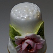English Bone China Display Thimble with Rose