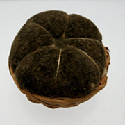 Basket Pin Cushions with Light and Dark Green Velvet Cushions
