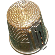 "Brass Gadget Thimble ""Thread Cutter"""