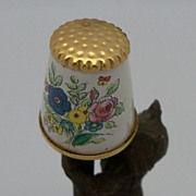 English Battersea Porcelain Floral Thimble