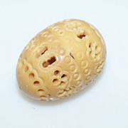 Egg Shaped Pierced Celluloid Thimble Holder