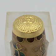 Cloisonne Thimble Modern Dark Brown and Tan Abstract Design