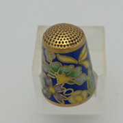 Cloisonne Modern Thimble with Dark Brown Background