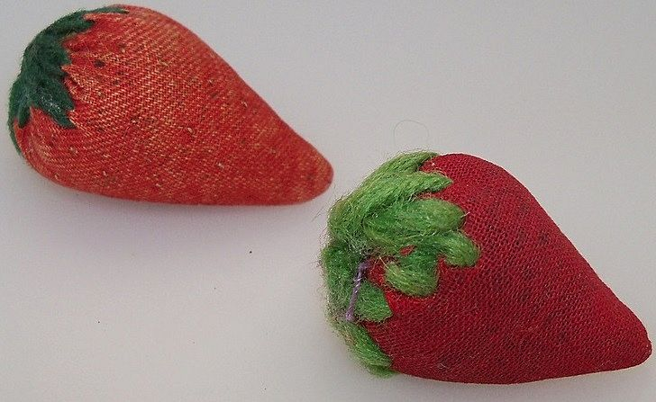 Two Little Strawberry Emeries for Your Sewing Basket