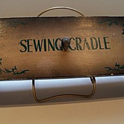 Figural Wooden Cradle Sewing Box