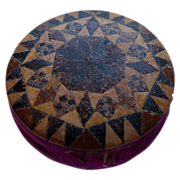 Tunbridgeware Pin Cushion (Pinwheel)  with Burgundy Velvet