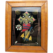 Bird's Eye Maple Framed Victorian Textile and Bead Work