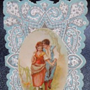 Small Blue and Silver Valentine with Loving Boyfriend and Girlfriend