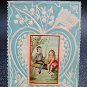 Small Blue and Cream Valentine with Boy and Girl