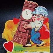 Mechanical Valentine Boy Carrying Grandfather Clock