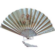 Large Victorian Cream Satin with Mother of Pearls Sticks Fan