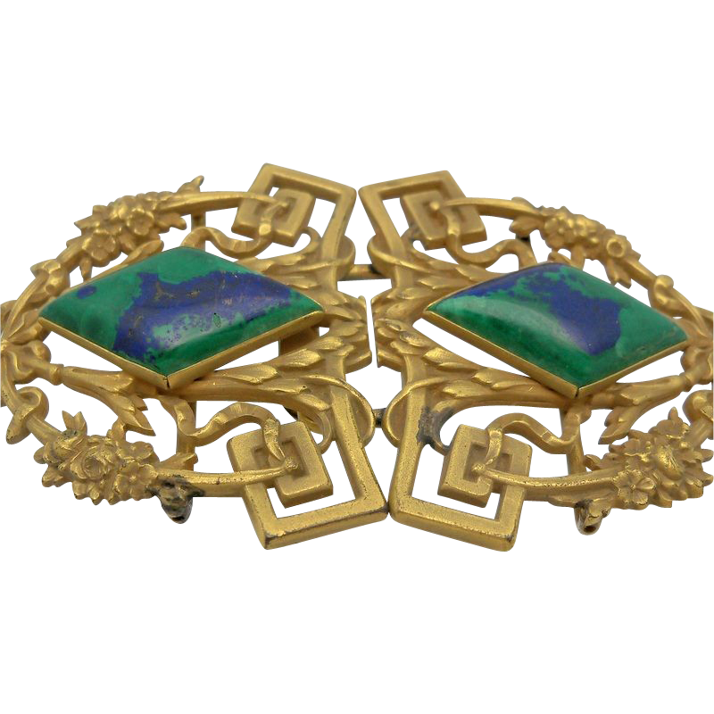 Ornate Brass Belt Buckle with Green and Blue Glass Stones