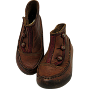 Early Victorian Pair of Child's  Shoes Two Tone Brown