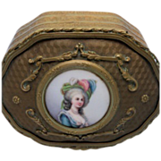 Dore Bronze Dresser Box with 18th Lady's Portrait Medallion