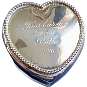 Sterling Top Heart Shaped Dresser Jar