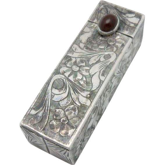 Italian Silver Lipstick Carrying Case with Mirror