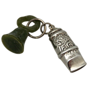 Sterling Whistle with Jade Glass Seal
