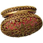 Oval Cranberry Glass with Brass Filigree Decoration Box