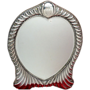 Heart Shaped Mirror of Swirling Ornate  Silverplate