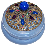 Highly Jewelled Blue Glass Powder Jar