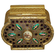 Amethyst and Enamel Dore Bronze Box with Portrait Medallion