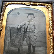 1/6 plate English Ambrotype Boy in a Mortar Board c1860
