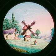 A Mid 19th C Hand Painted Moving Lantern Slide of a Windmill