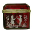 Antique Bohemian  Cranberry Hinged Box. &quot;Mary Gregory &quot;